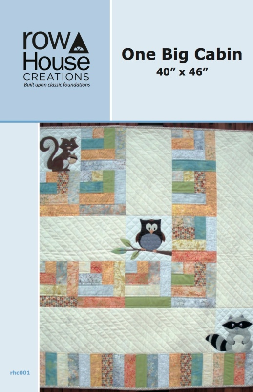 One Big Cabin Owl Racoon Squirrel Applique Modern baby Quilt