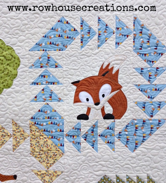 Fox in a Box Applique Fox and Geese Quilt Block