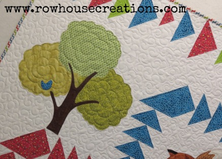 Fox in a Box Tree Applique Baby Toddler Quilt Bird in Tree Flying Geese Fox and Geese Quilt Block