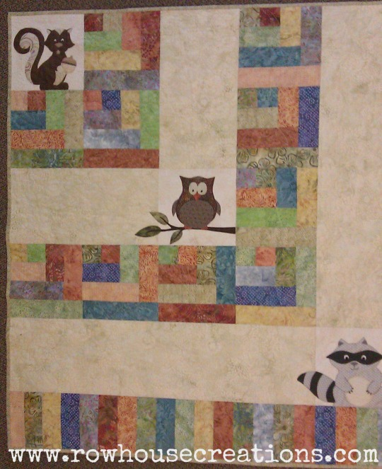 One Big Cabin baby quilt shop sample from Prairie Point Quilts in Shawnee Kansas